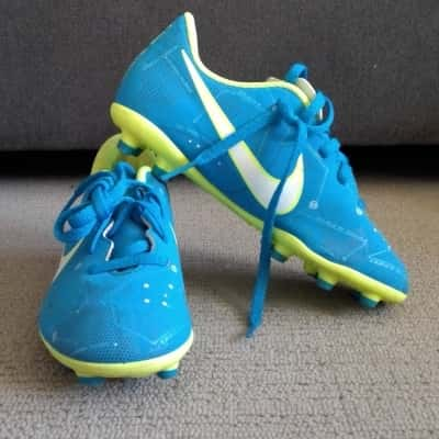 Boys NIKE MERCURIAL SOCCER CLEATS  Size 12.5 Shoes Blue/ Lime Green/White RRP $44.95