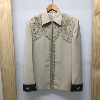 Unlabeled, Tailored jacket, Dark beige with beading, Size 14