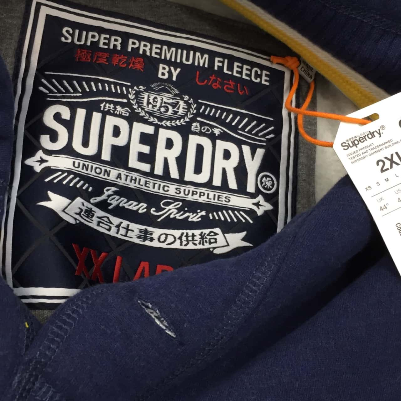 Superdry Men's  Size XXL Navy Blue Premium Fleece Cotton Blend Windcheater