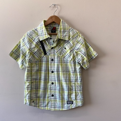 ** REDUCED ** Brooklyn Industries Boys Size 8 Shirt Black /Green/Grey/White/Yellow Check - New With Tags - Cotton