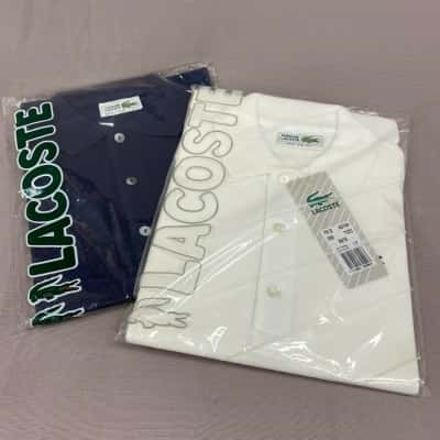 Lacoste Mens Navy & White Polo Shirt Size 12 Bundle Brand New