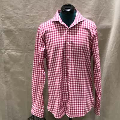 Brooksfield Mens  Size 34 Business Shirt Red/White