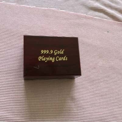 99.9 Gold Playing Cards in Wooden Box with Certificate