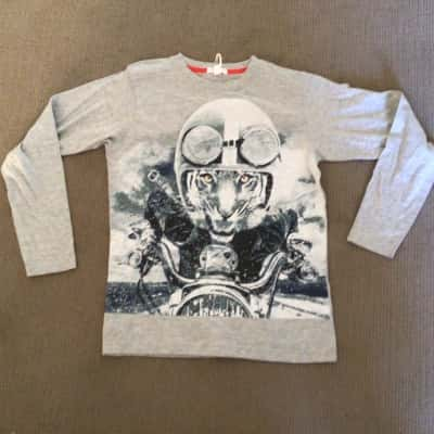 BNWT Kids PUMPKIN PATCH LONG SLEEVE T SHIRT Size 14  Grey Blue White