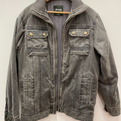 Mens JEEP CLASSIC COLLECTION Distressed Denim Look Jacket Size S