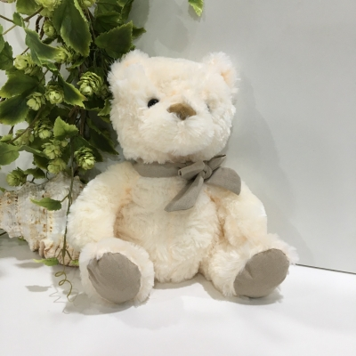 Teddy Bear, Size Medium, Cream with Grey Ribbon