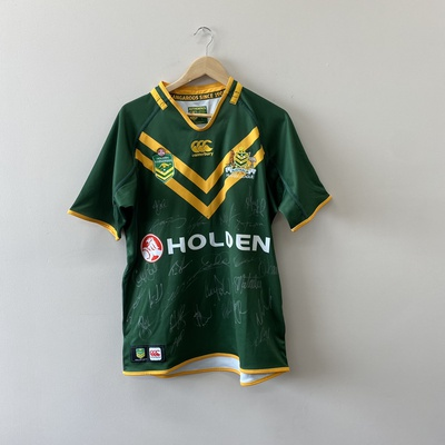 Authentics Men's Kangaroos Signed Rugby League Jerseys Size L Green and Yellow