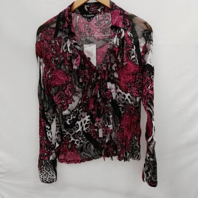BNWT LIZ JORDAN Lightweight Multicoloured Long Sleeve Top Size Large