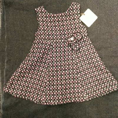 "BNWT ORIGAMI Sweet Girls Wool Blend Dress ""Climbing Rose"" Size 0 Pink Black Grey"