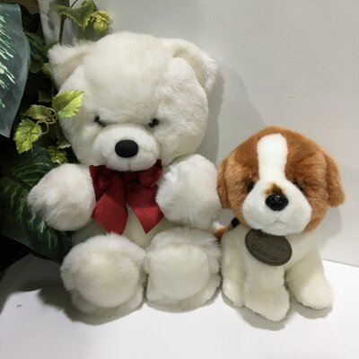 50% Off - Teddy Bear-White, and Beagle Pup-Tan/White